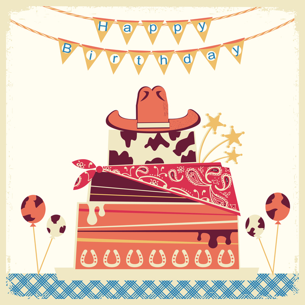 cowboy happy birthday card with cake and hat vector