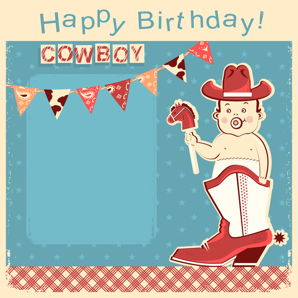 cowboy little baby sit in boot and birthday vector