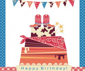 cowboy party cake with birthday card vector