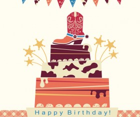 cowboy party card illustration vector