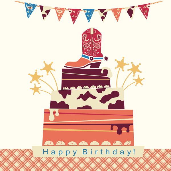 cowboy party card illustration vector