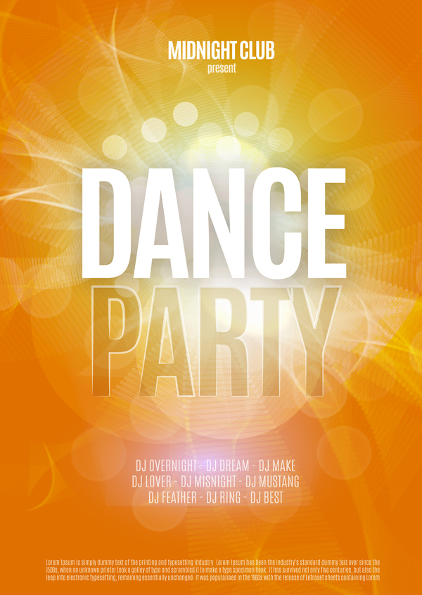 dance party poster template vectors