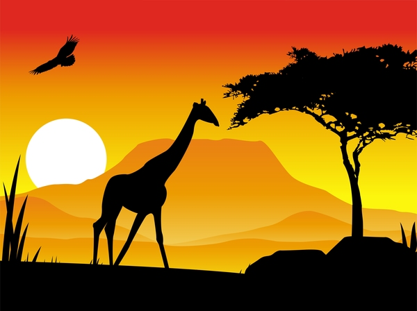 giraffe silhouette with sunset background vector 01