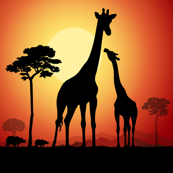 giraffe silhouette with sunset background vector 02