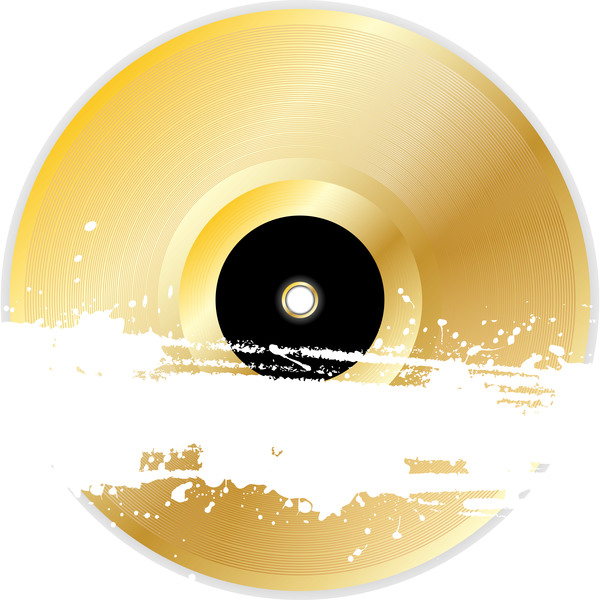 gold vinyl record with grunge banner vector