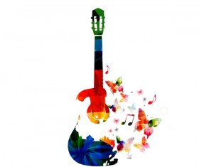 guitar with colorful butterflies vector