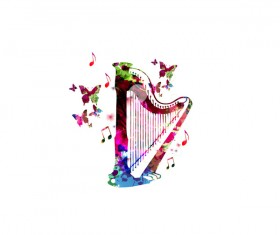 harp with colorful butterflies vector