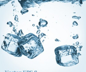 ice cubes with water background vector 04
