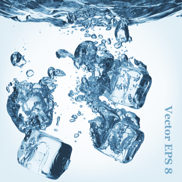 ice cubes with water background vector 05