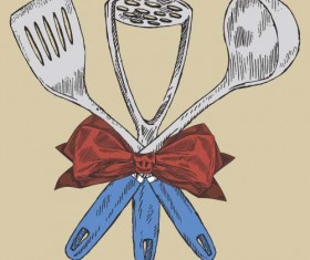 kitchen utensils with retro bow vector