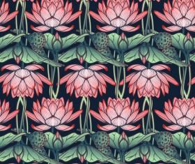 lilies flower seamless pattern vector 01