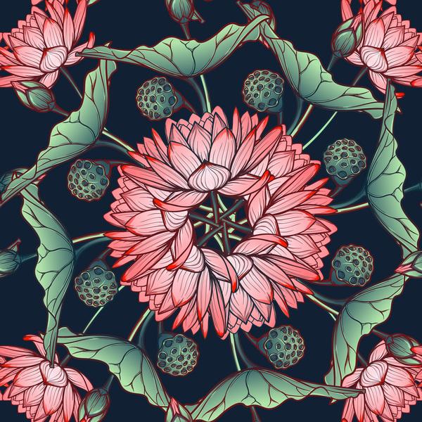 lilies flower seamless pattern vector 02