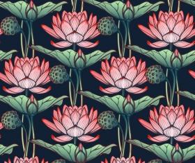 lilies flower seamless pattern vector 04