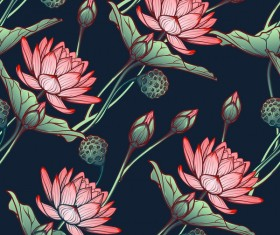 lilies flower seamless pattern vector 05