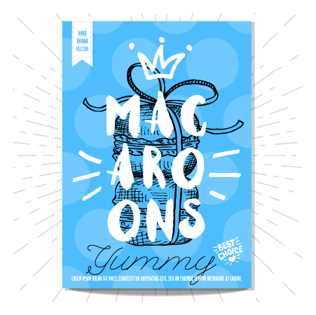macaroons poster template vector
