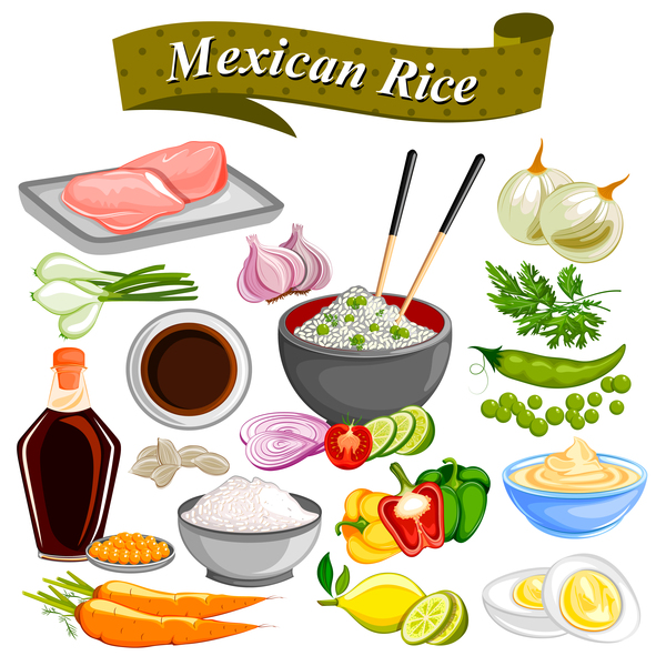 mexican rice vector material