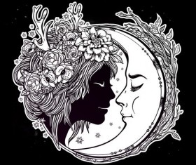 moon with woman face vector desgin 01
