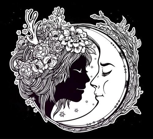 moon with woman face vector desgin 01