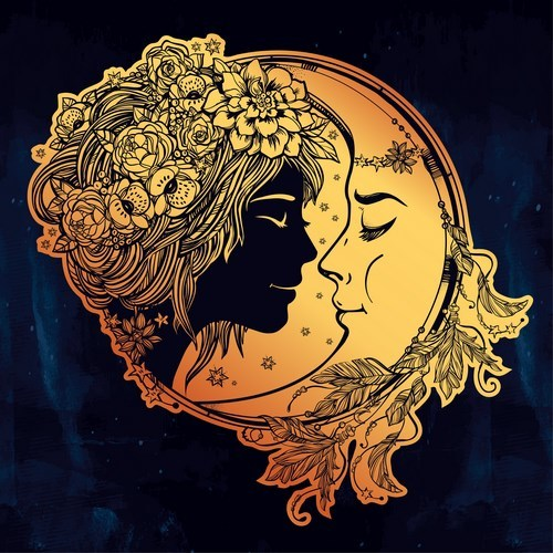 moon with woman face vector desgin 02