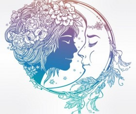 moon with woman face vector desgin 03