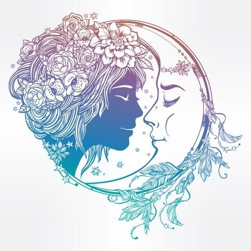 moon with woman face vector desgin 03