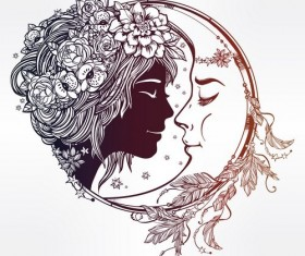 moon with woman face vector desgin 04