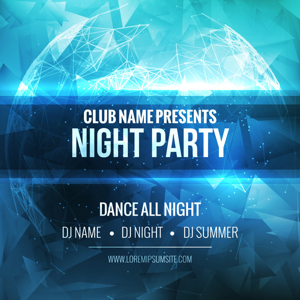 night party flyer template vector material 01