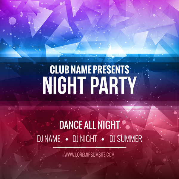 night party flyer template vector material 03