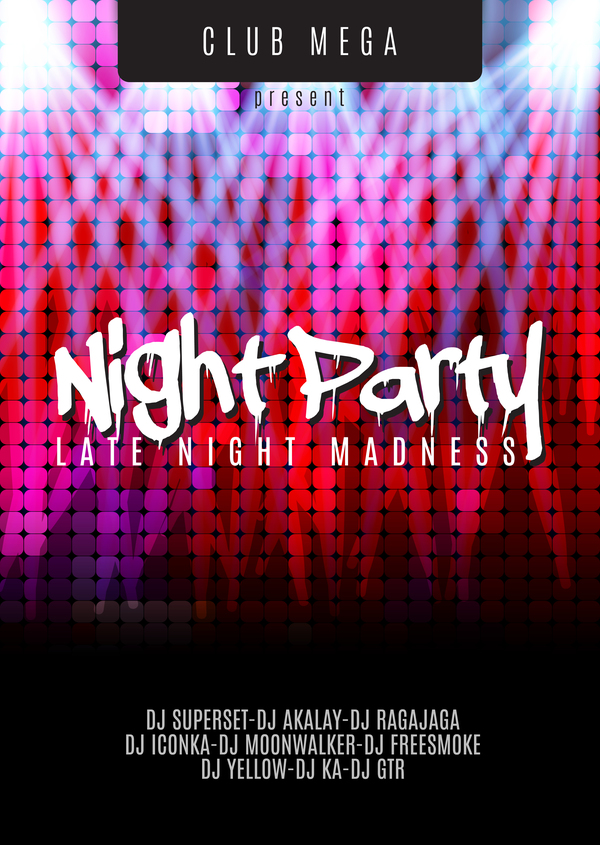 night party flyer template vector material 04