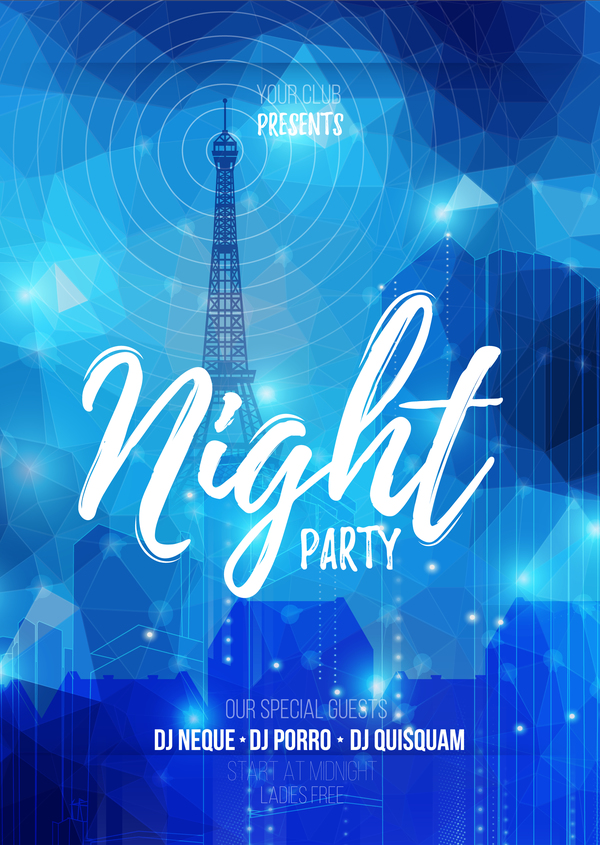 night party flyer template vector material 05