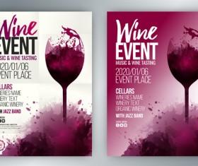 poster event wine template splash glass vector