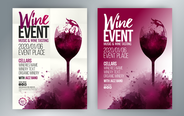 Poster Event Wine Template Splash Glass Vector Free Download