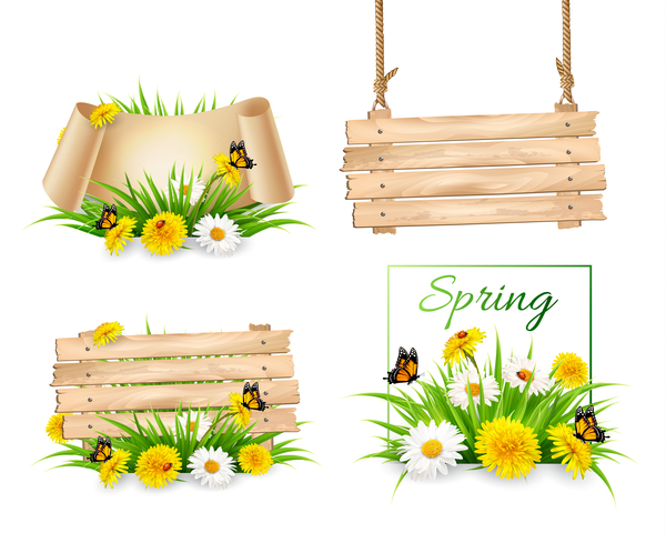 set of spring sale banners vector