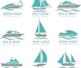 speed boat with ship and yacht logos vector