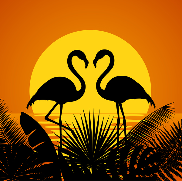 tropic flaming with sunset background vector