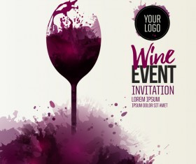 wine glass event stains drops red vector