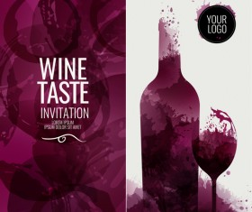 wine red circles stains bottle glass background vector