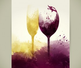 wine sparkling glasses stains liquid vector