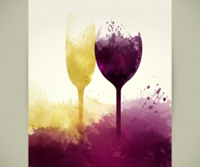 wine sparkling glasses stains red yellow vector