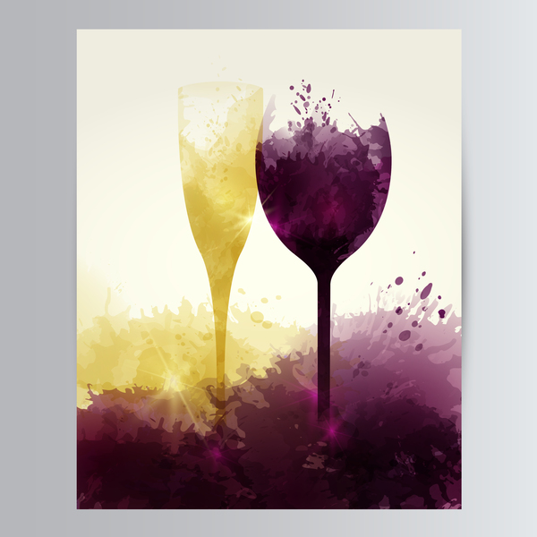 wine sparkling glasses stains vector