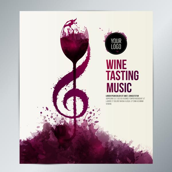 wine taste event stains liquid music vector