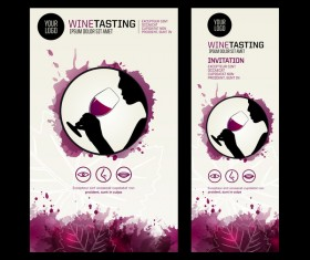 wine tasting invitation poster silhouette stain template vector