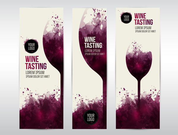 wine template tasting invite stains banner web glass vector