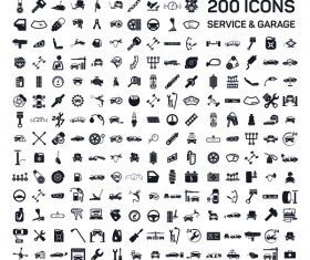 200 service and garage icons vector