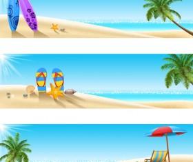 3 summer beach banners vector