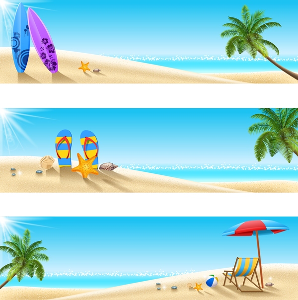 3 summer beach banners vector