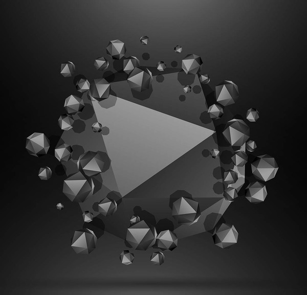 3D Polygon with black background vector 01
