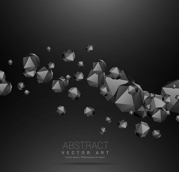 3D Polygon with black background vector 02