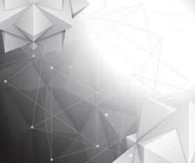 3D polygon with points lines background vector