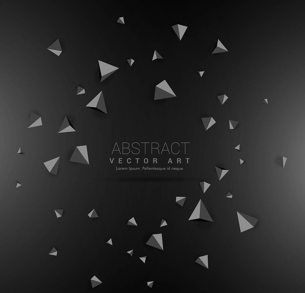 3D triangle with black background vector